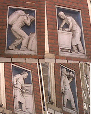 sculptures of bakers by Philip Lindsey-Clark, Widegate Street, London