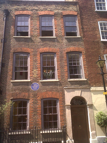 blue plaque on painter Mark Gertler's house in the City of London