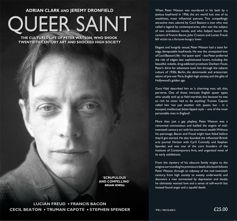 front cover and notes, queer saint by adrian clark and jeremy dronfield